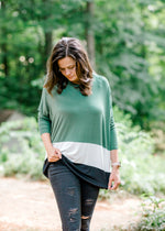 Perfect Comfort Green Color Block Top