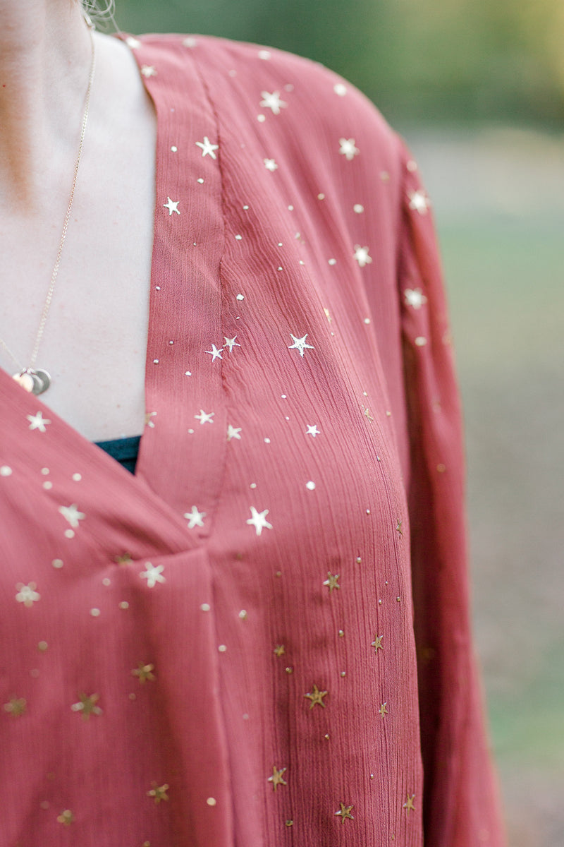 v neck blouse with gold stars - epiphany boutiques