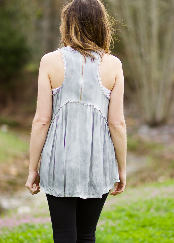 taylor-tank-green-fog-racerback-gray-zipper-comfy-comfortable-lace-cute-epiphany-boutiques-athens-madison-alabama-shop-local-back-view
