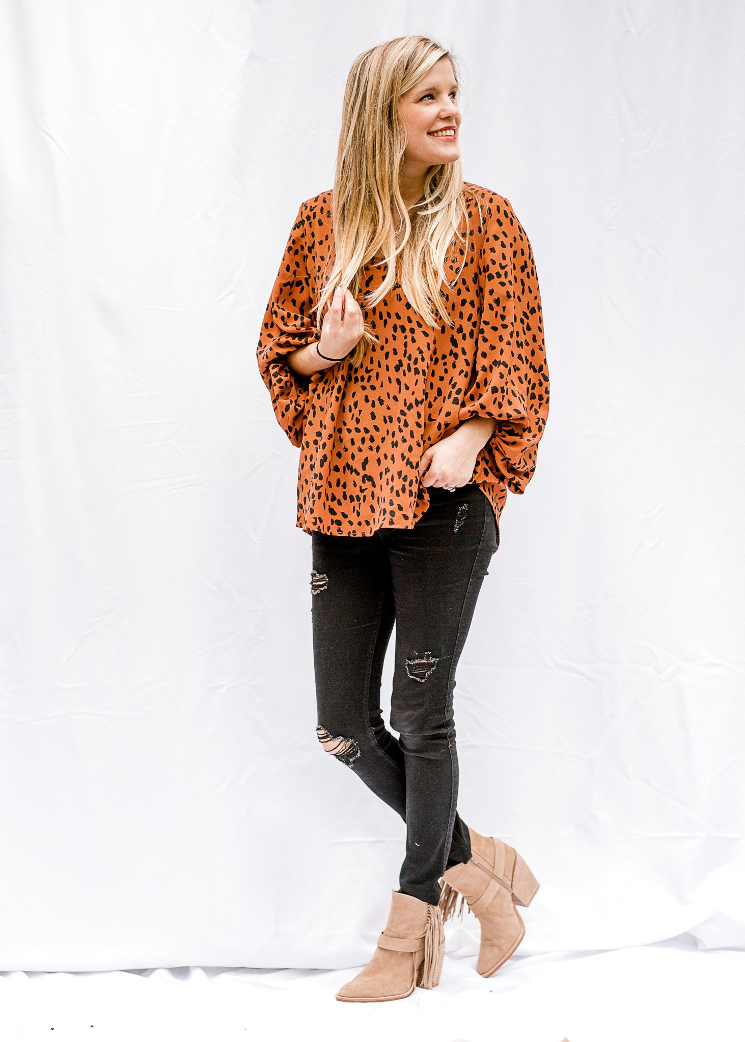 Toffee Leopard Top