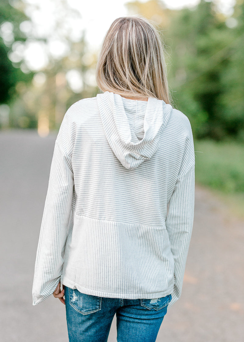 gray and white striped top with hood -  epiphany boutiques