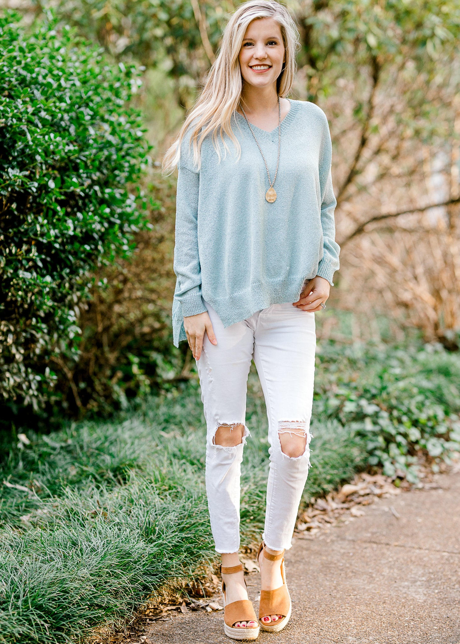 Almost Aqua V-Neck Sweater