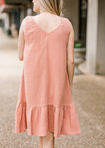 midi dress in apricot back view - epiphany boutiques