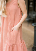 apricot midi dress pocket detail view - epiphany boutiques