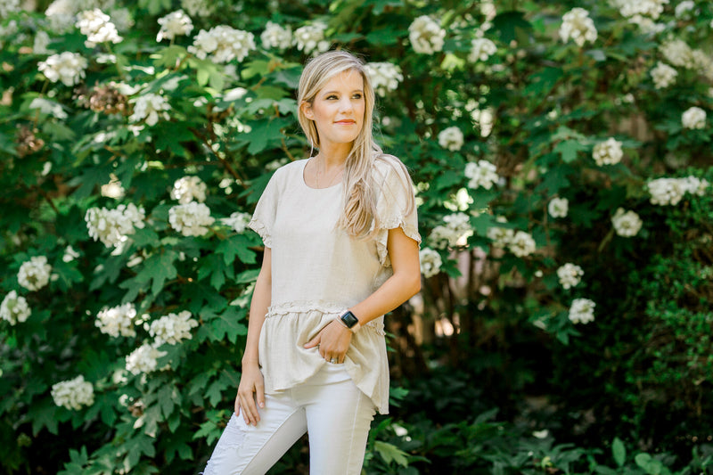 short sleeve oatmeal top -  epiphany boutiques
