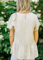 key hole closer on oatmeal colored top -  epiphany boutiques