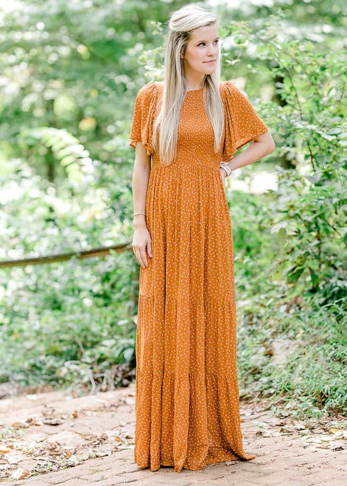 rust maxi dress with flutter sleeves - epiphany boutiques
