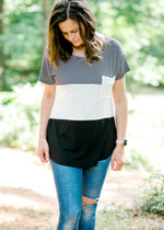 color block top with pocket - epiphany boutiques