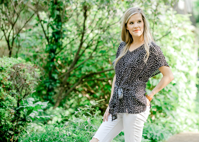v neck top with front tie - epiphany boutiques