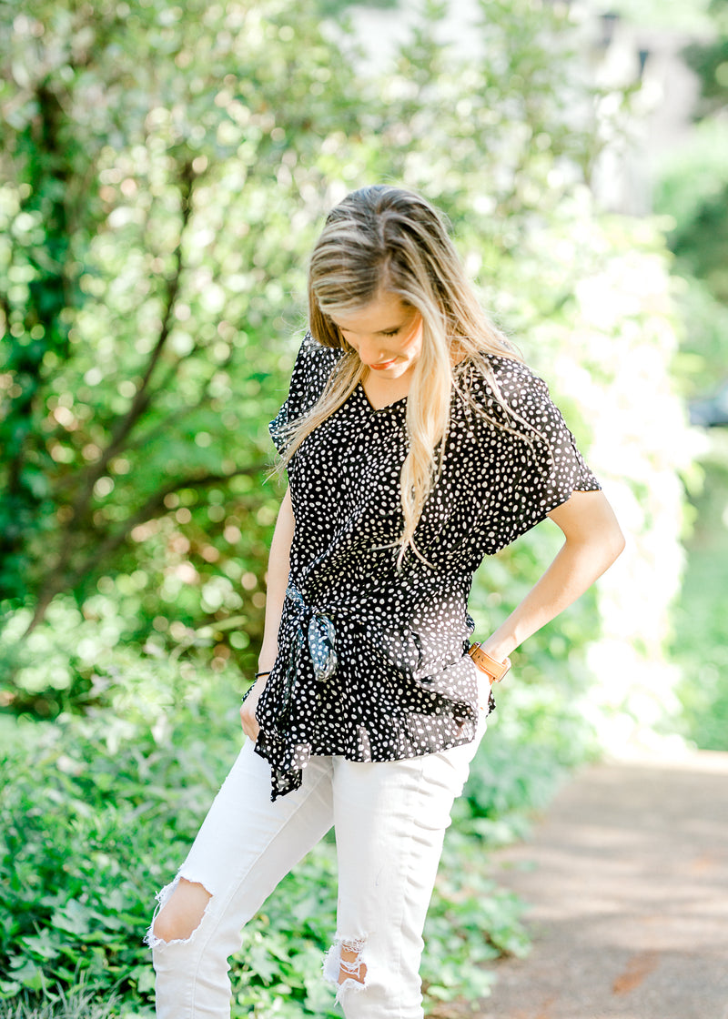 black and white top with front tie - epiphany boutiques