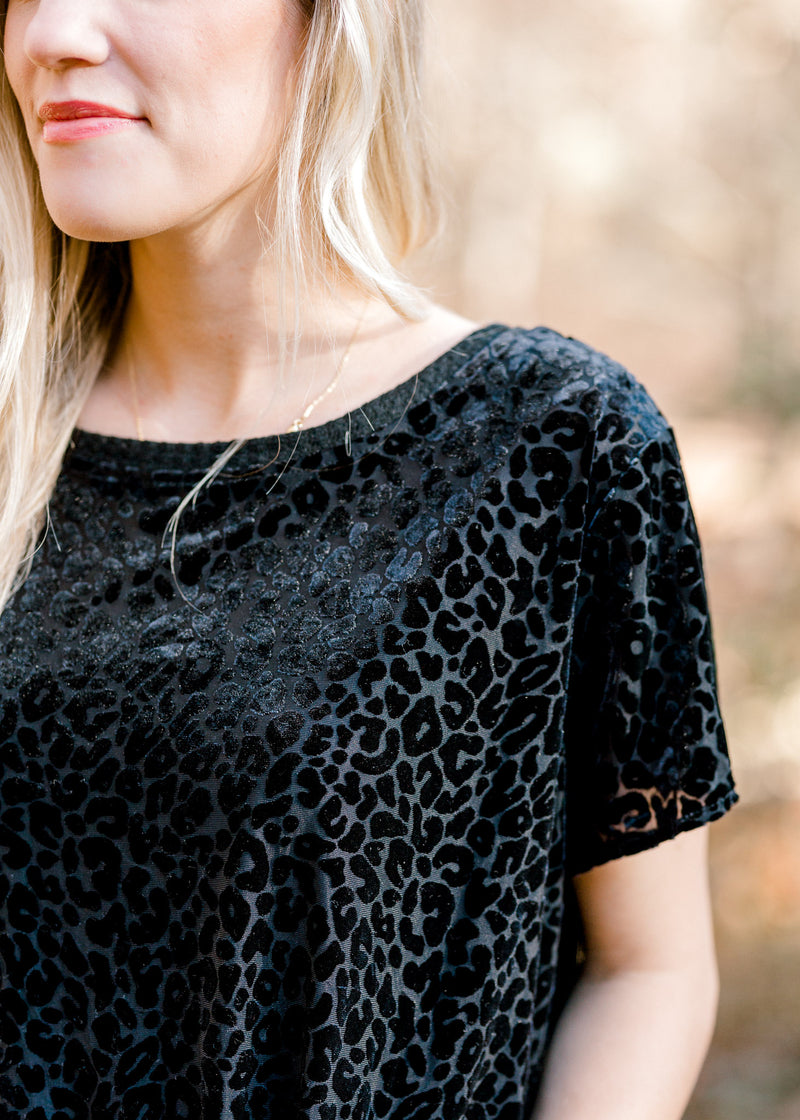 Black Burn-Out Top