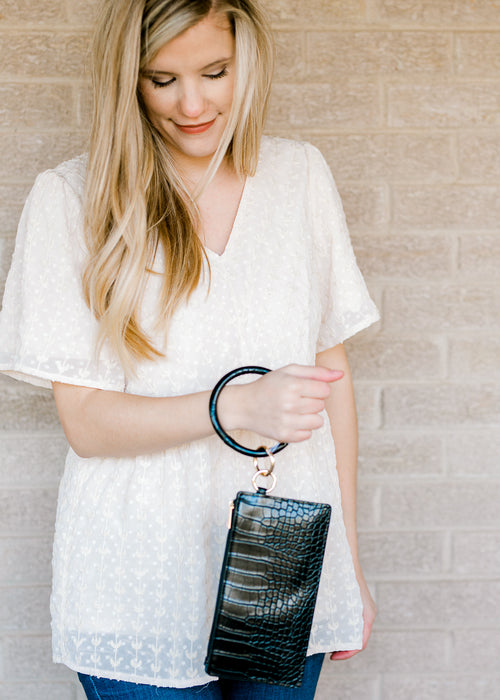 black snakeskin key ring clutch - epiphany boutiques