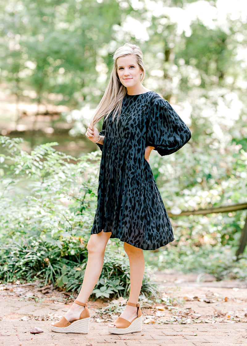 black animal print dress with long sleeves -  epiphany boutiques