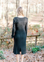 B Black Ribbed Sweater Dress