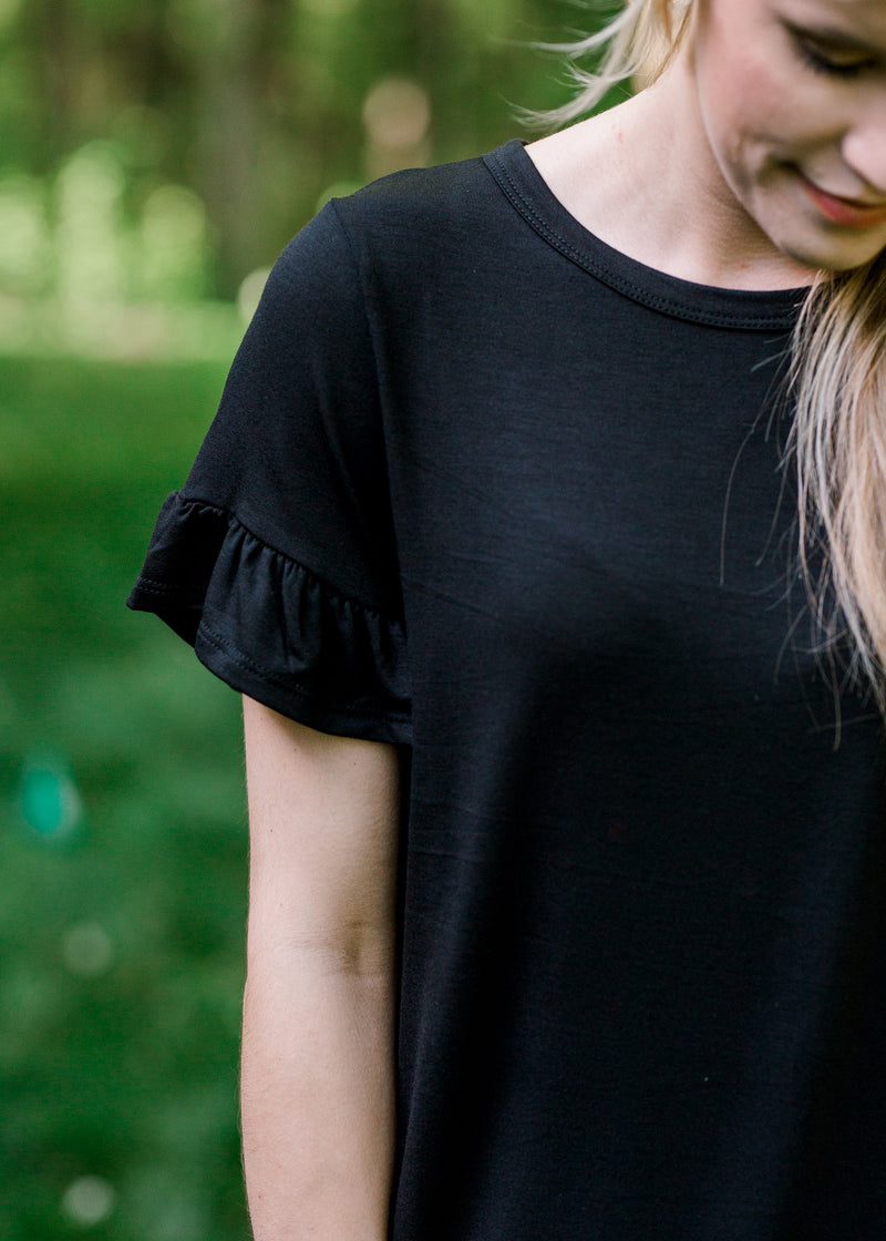 Black Ruffle Sleeve Top for the Bump