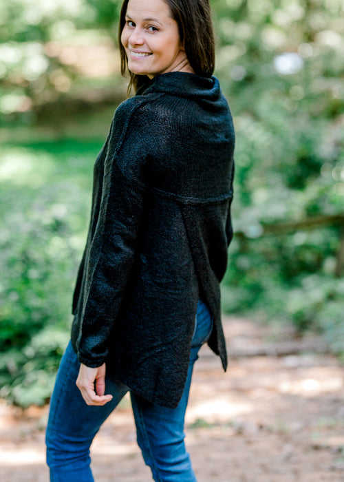 black sweater with faux back - epiphany boutiques