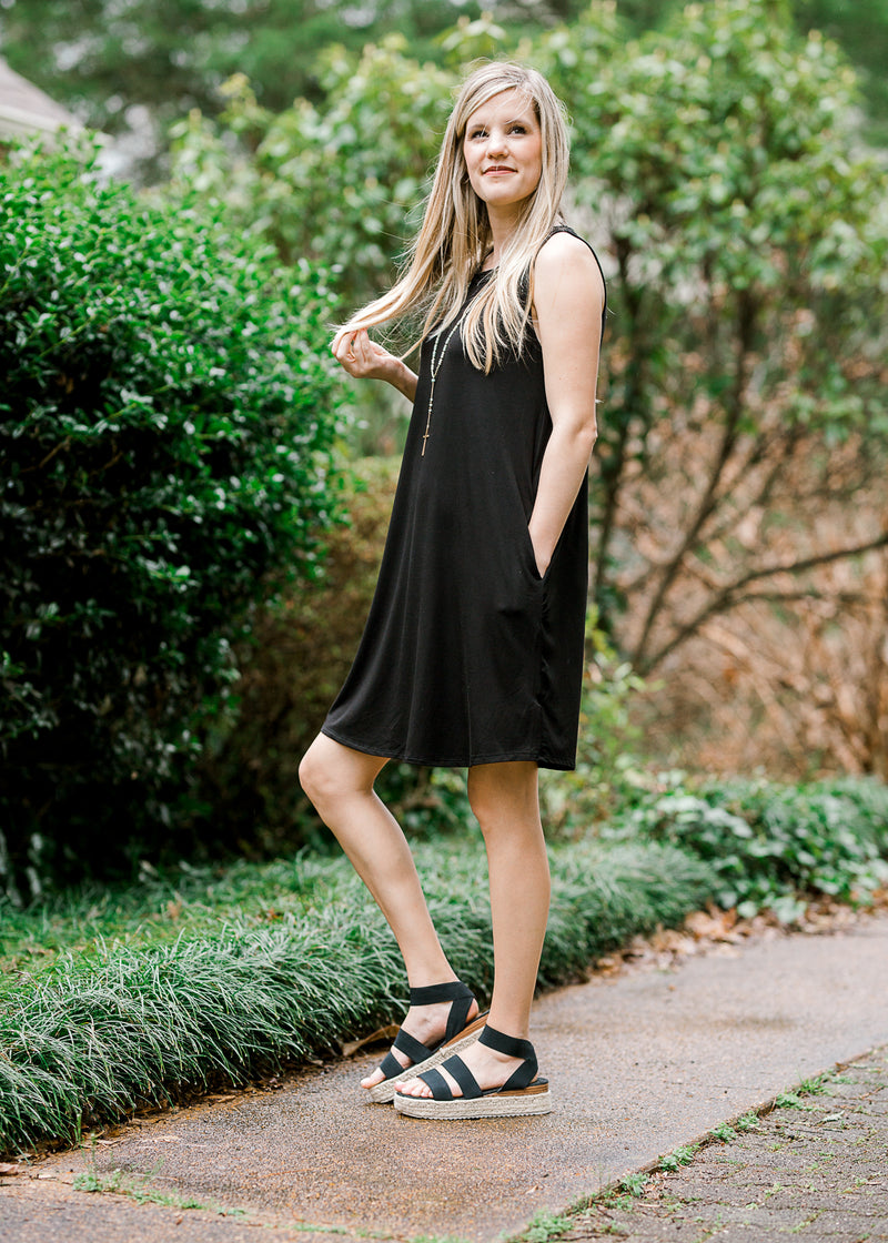 black sleeveless dress with pockets - epiphany boutiques
