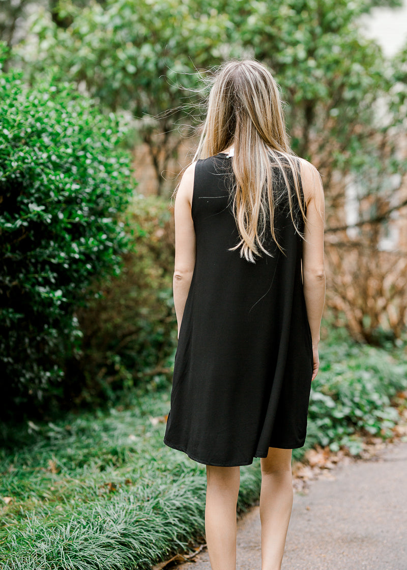 back of black swing dress - epiphany boutiques