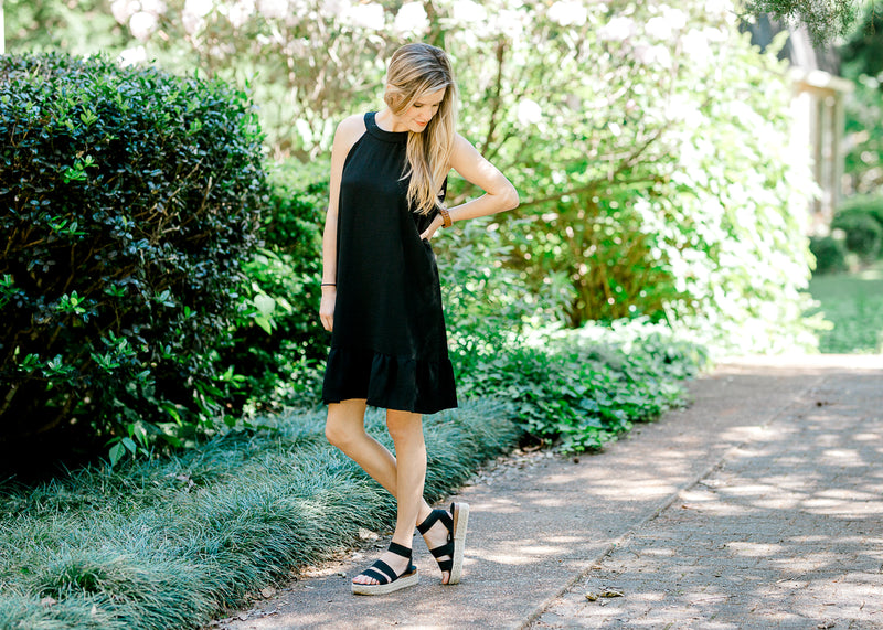 black dress with ruffle -  epiphany boutiques