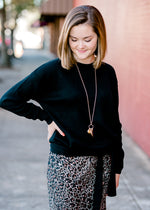 Black Waist Tie Sweater