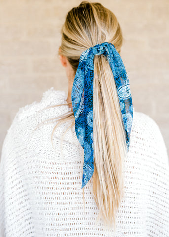 Blue Bandana Scrunchie