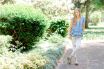 blue and white striped top - epiphany boutiques