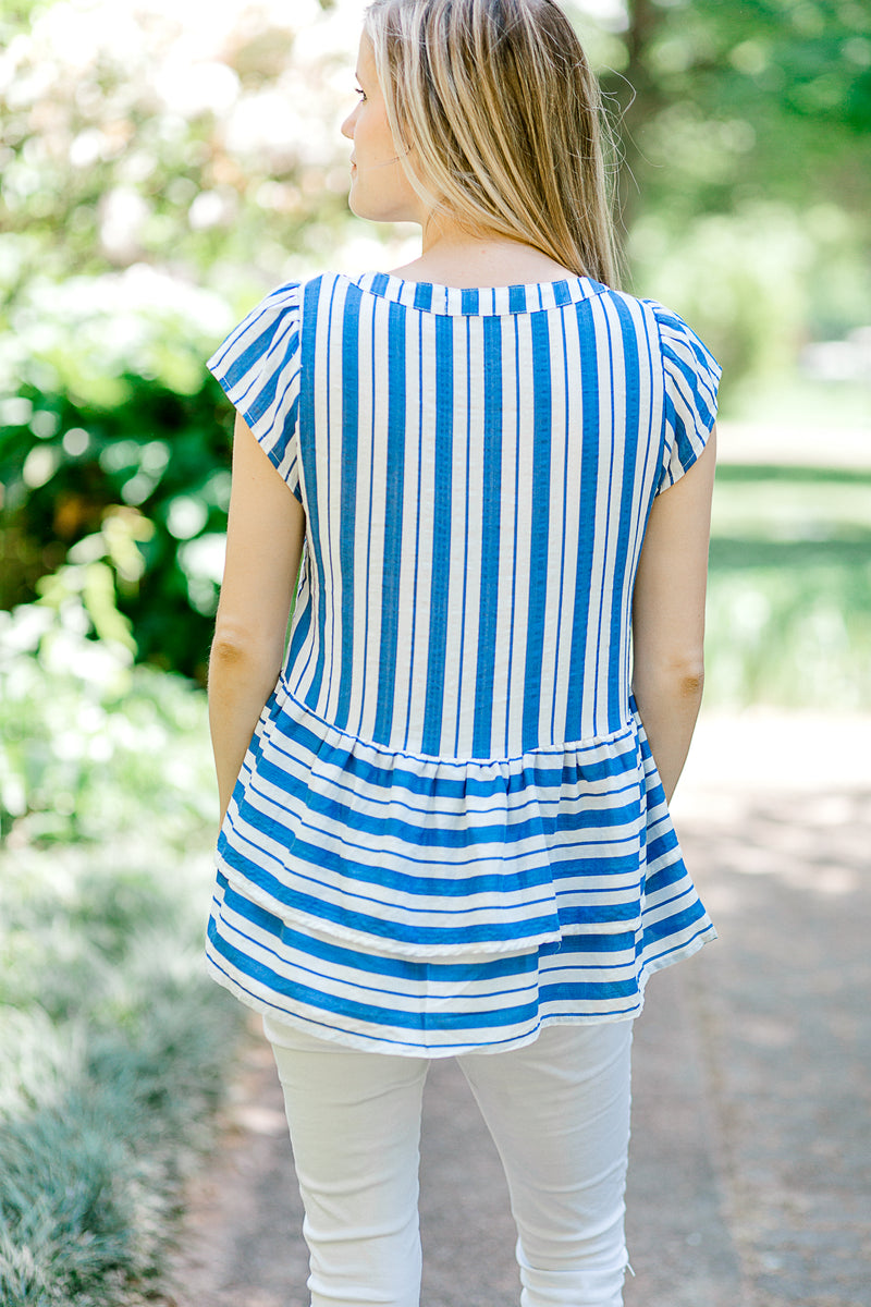 blue and white top back view - epiphany boutiques