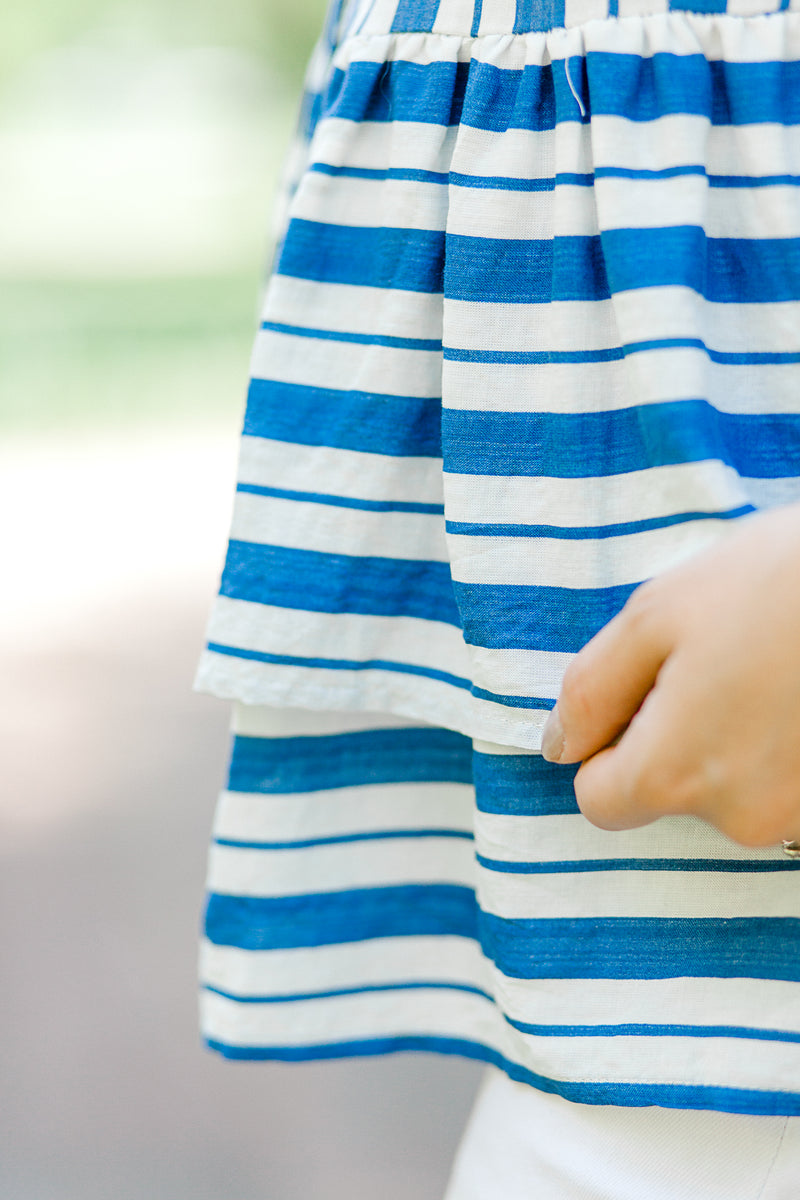 tiered blue and white striped top - epiphany boutiques