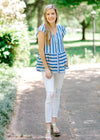 blue and white top - epiphany boutiques