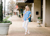 soft knit blue and white top - epiphany boutiques