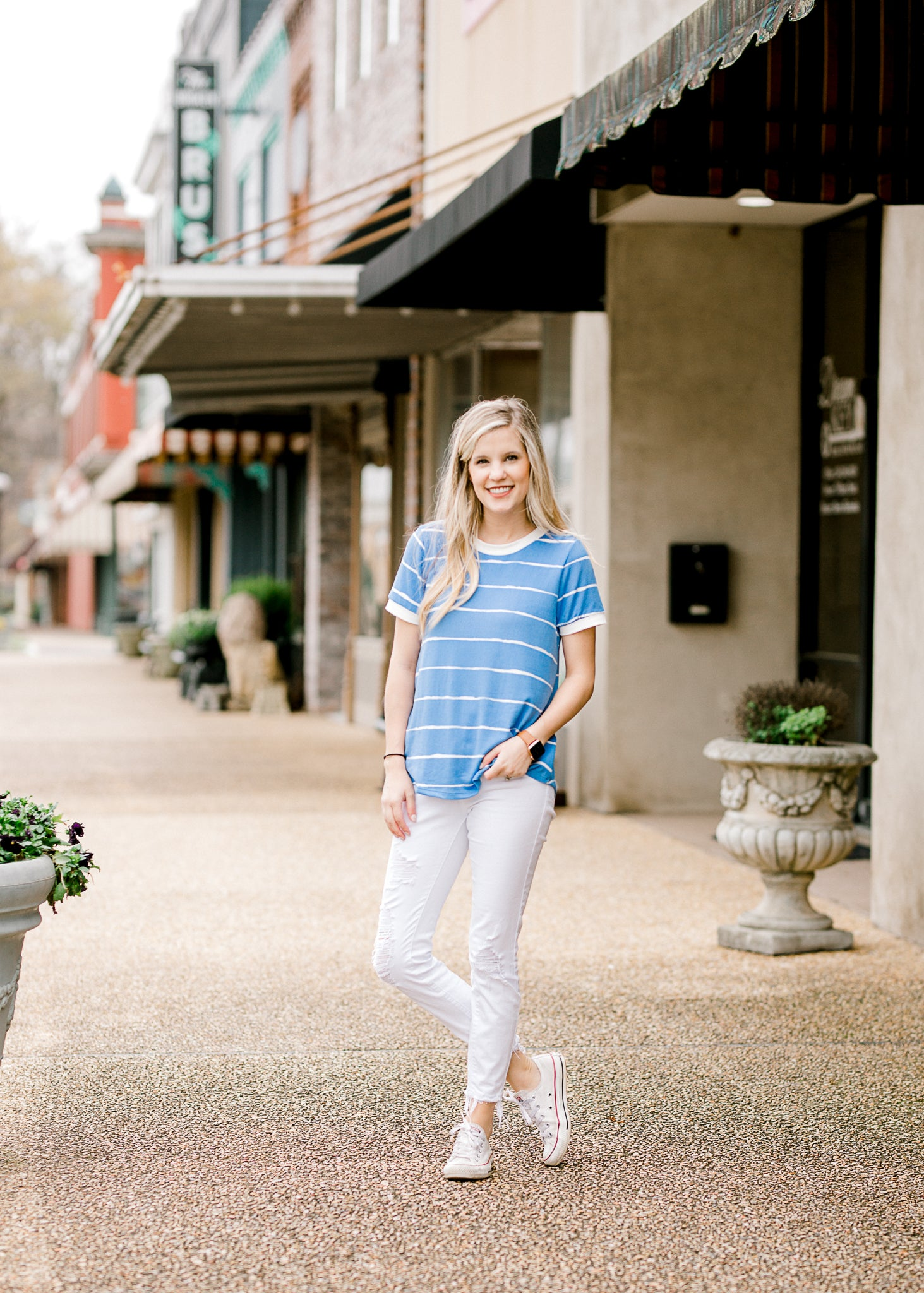 blue and cream stipe top - epiphany boutiques