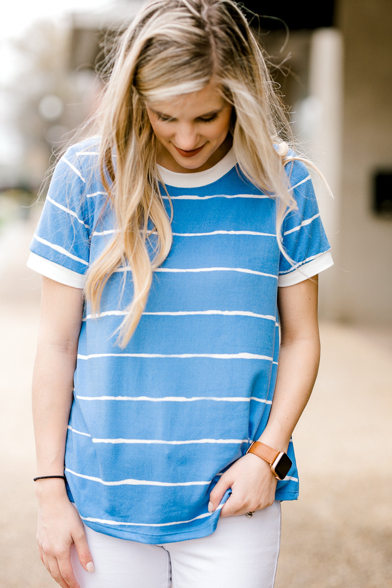 blue with white stripe top - epiphany boutiques