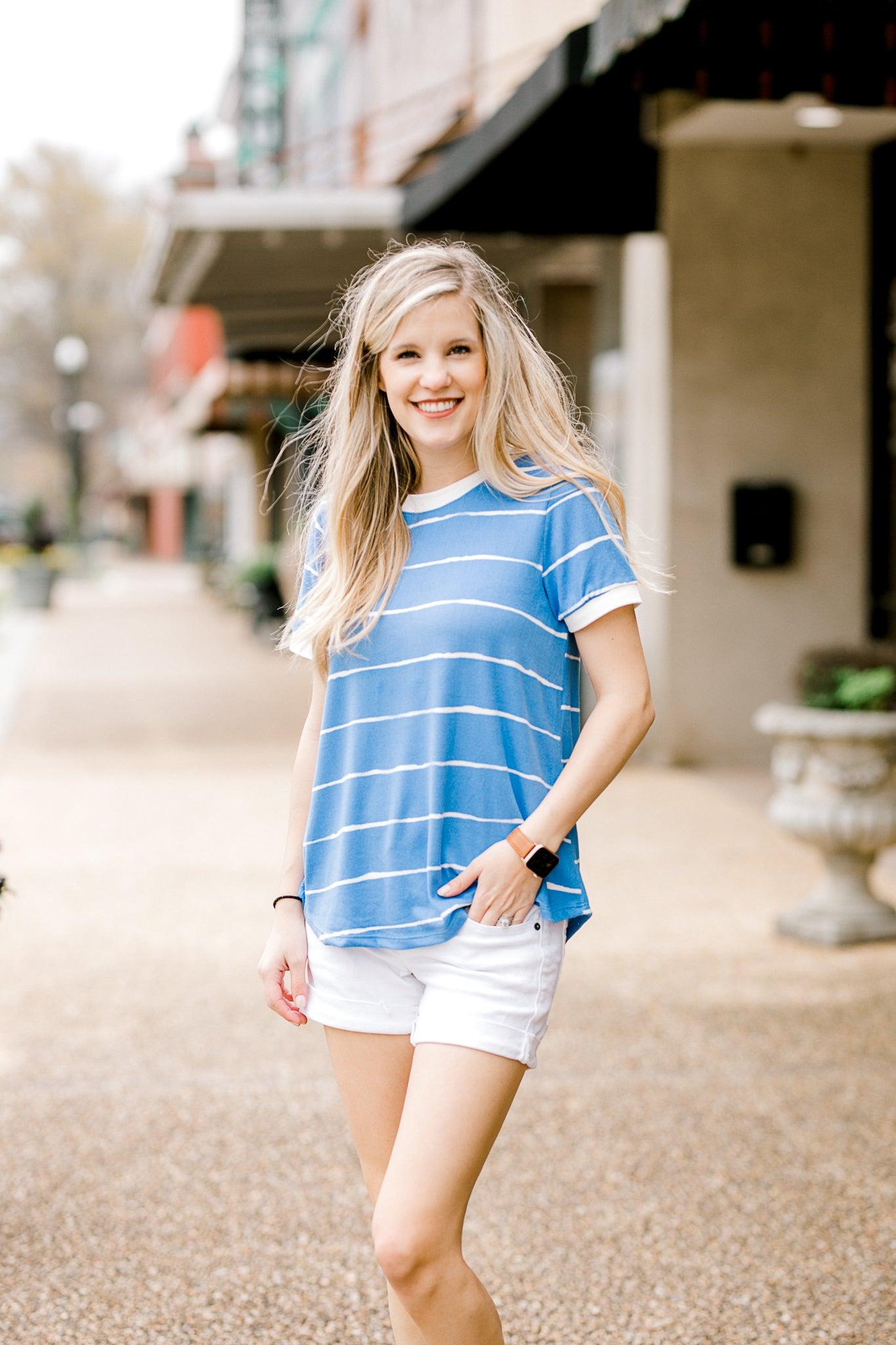 blue and white short sleeve top - epiphany boutiques