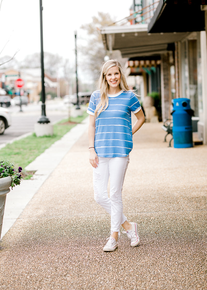 blue top with small creamy white lines - epiphany boutiques