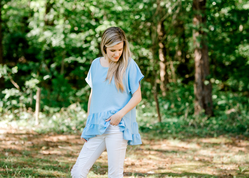 tiered top in blue - epiphany boutiques
