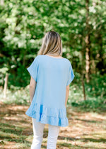 blue short sleeve top - epiphany boutiques