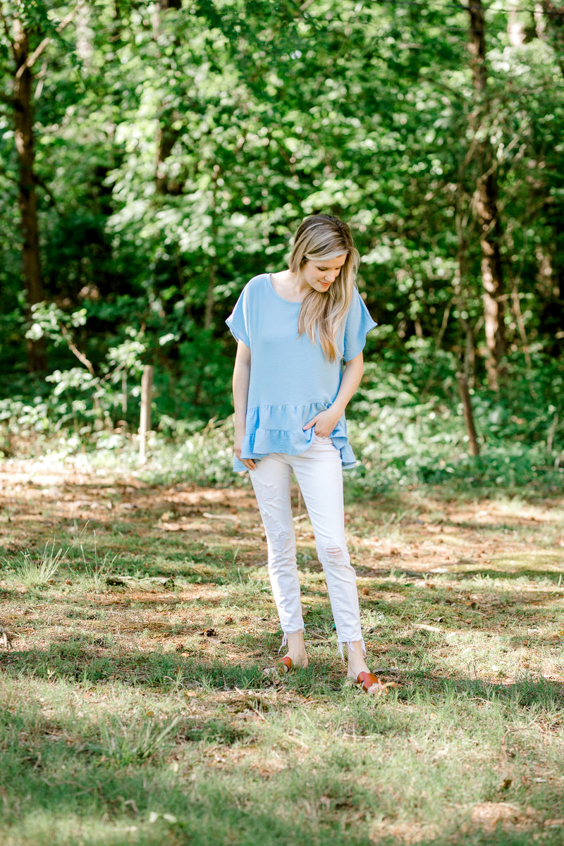 blue short sleeve top with tiers - epiphany boutiques