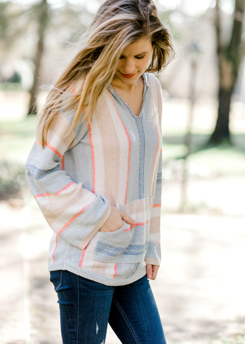 X Blue Ways Striped Hoodie Sweater