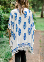 blue and cream kimono with tassels back view - epiphany boutiques