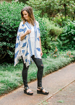 model in blue and white kimono - epiphany boutiques