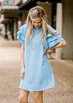 short sleeve shift dress in blue - epiphany boutiques