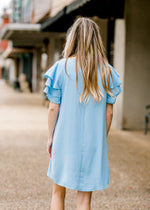baby blue shift dress back view - epiphany boutiques