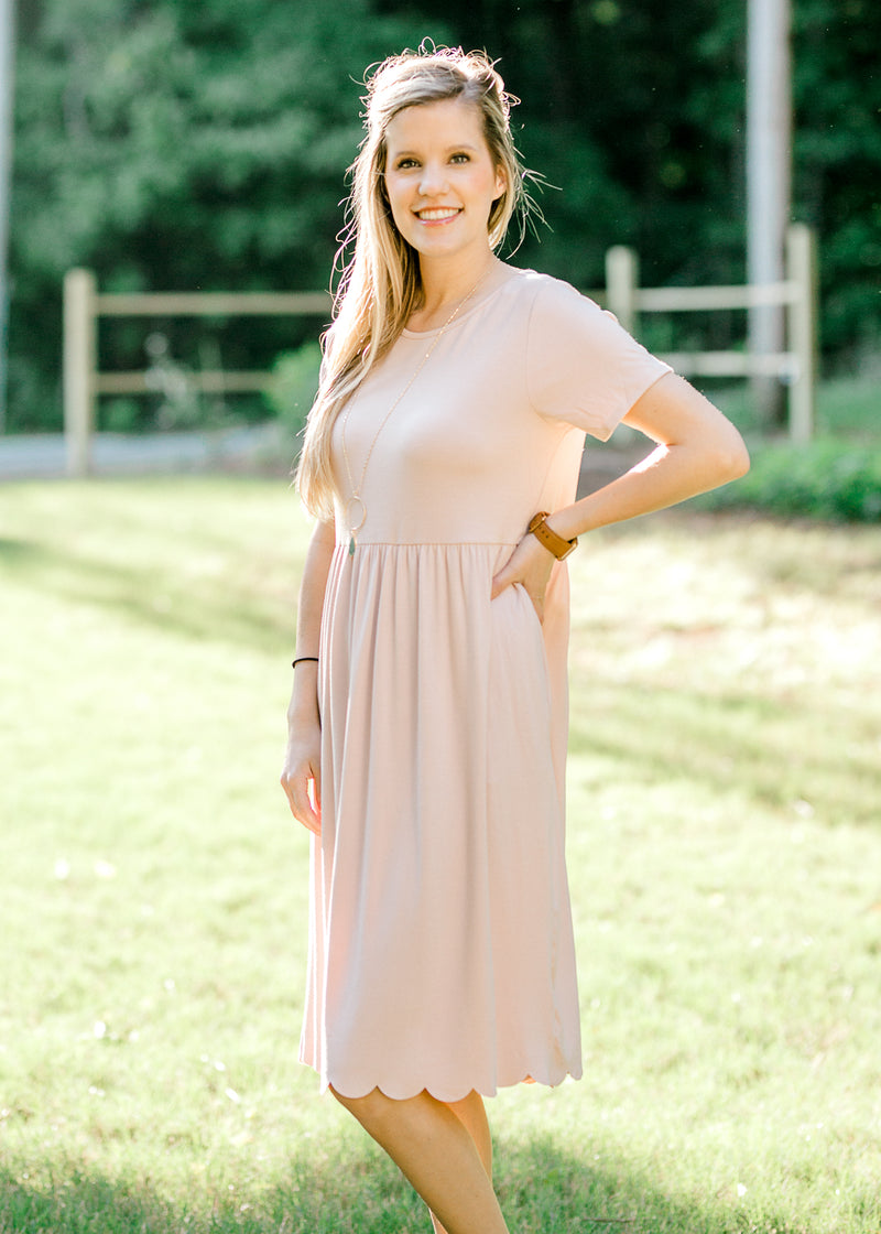 blush dress with scallop detail - epiphany boutiques