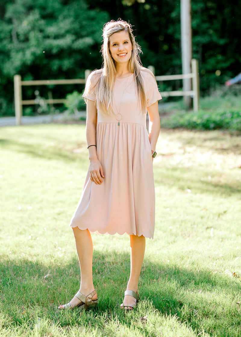 scallloped hem detailing dress - epiphany boutiques