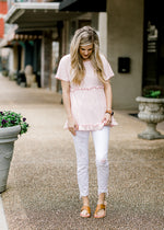 modified waffle knit pink top - epiphany boutiques