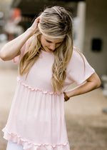 pink tiered waffle knit top - epiphany boutiques