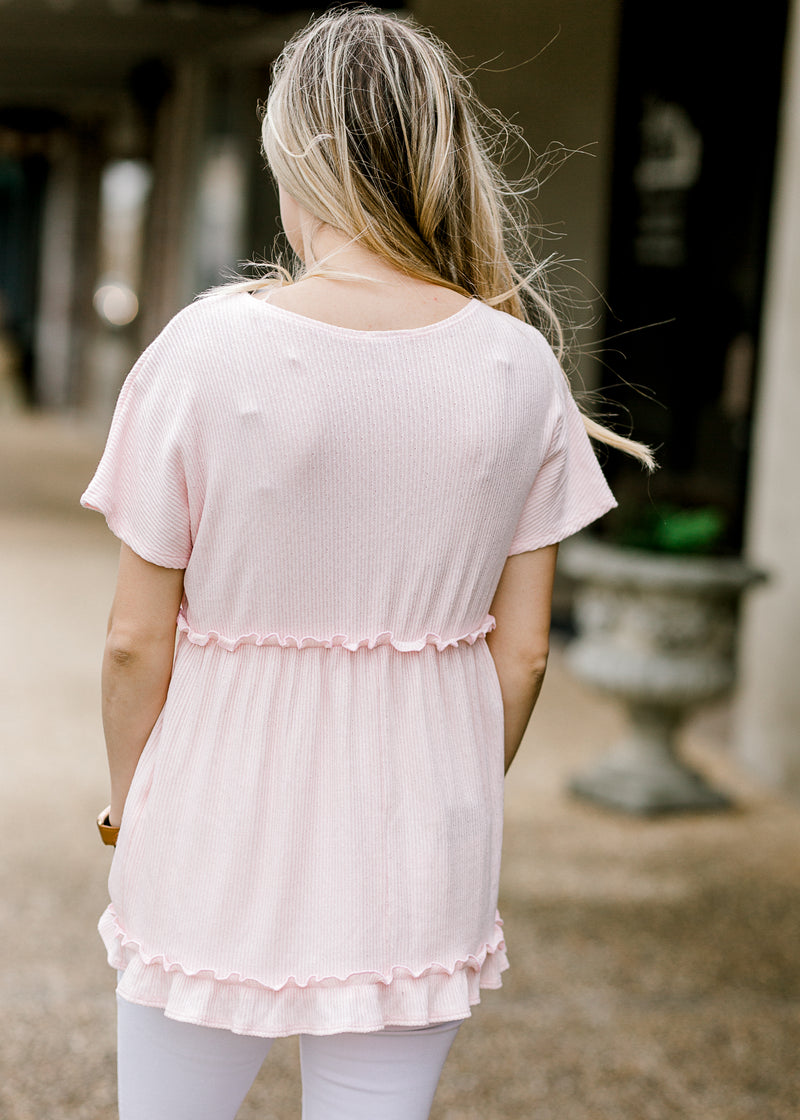 pink short sleeve top back view - epiphany boutiques