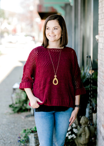 Bordeaux Open Weave Sweater