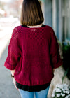 X Bordeaux Open Weave Sweater