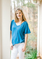 blue boyfriend tee with a pocket - epiphany boutiques